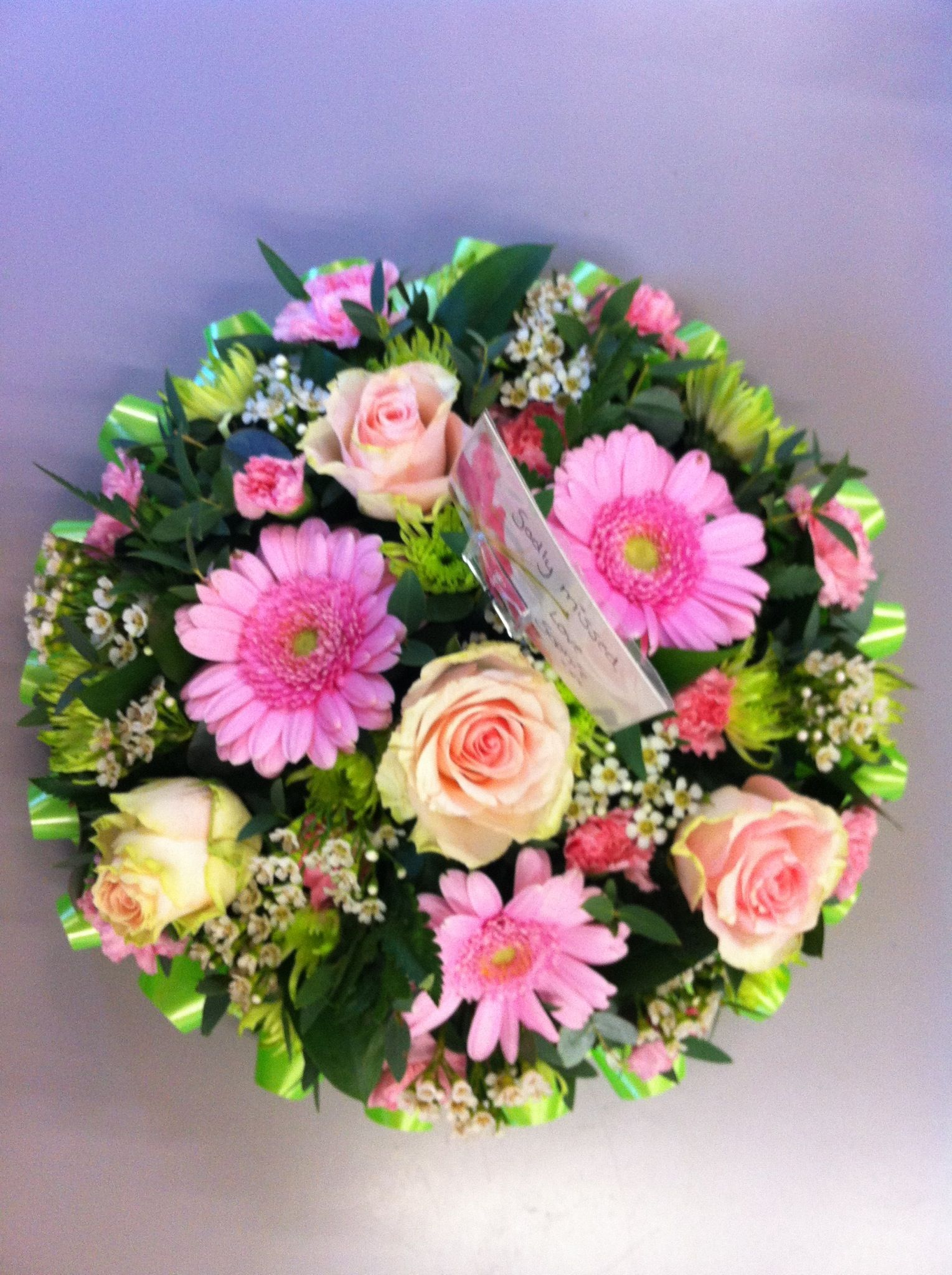 Posy Pad With Ribbon Edge Pinterest Funeral Flowers