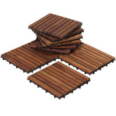 BareDecor EZ-Floor 12 x 12 Teak Wood Snap-In Deck Tiles in Oiled | Wayfair