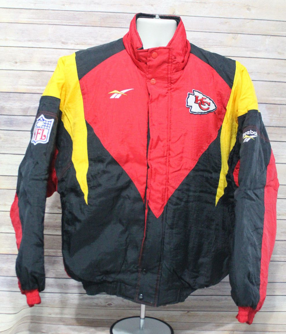 Vintage 90s Reebok Pro Line Authentic Kansas City Chiefs Jacket Coat Full Zip Coats Jackets Fan Apparel Nike Jacket [ 1153 x 987 Pixel ]