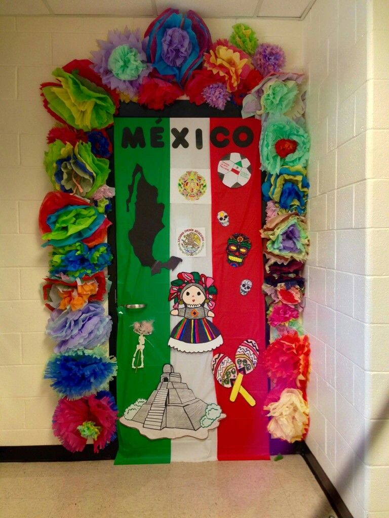 Hispanic heritage door decor by anita minguela classroom for Art classroom decoration ideas