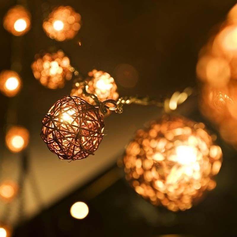 5m 20 Brown Coffee Sepak Takraw Rattan Ball LED String Fairy Party