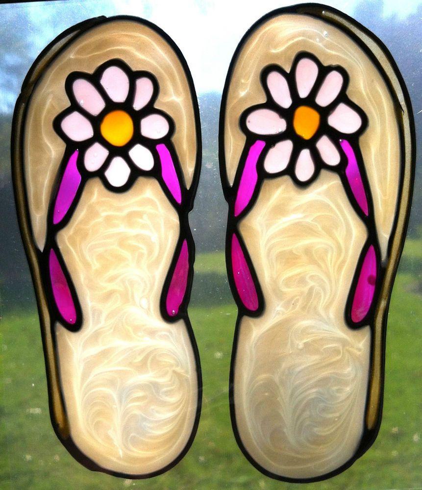 d604816f84ce flip flops thongs beach stained glass type suncatcher window sticker  leadlight  sunshiners