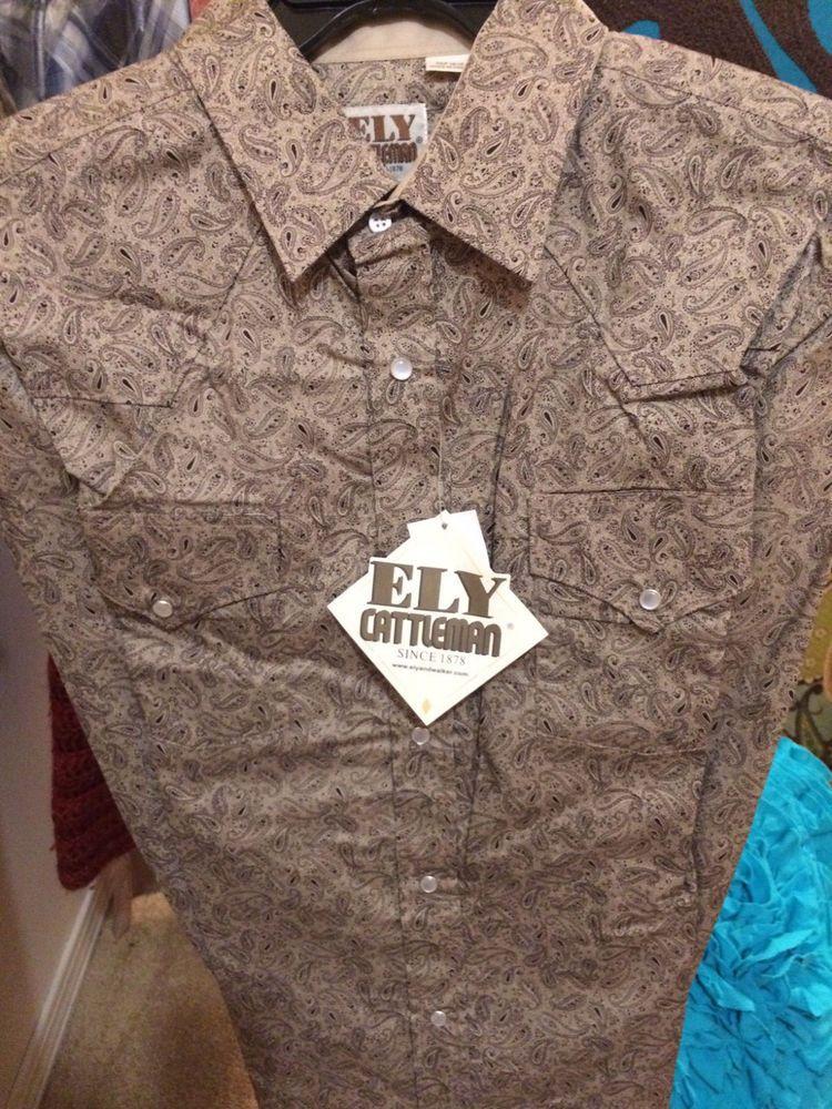 Western Men/'s Shirt Ely 1878 Snap Textured Plaid 100/% Cotton Short sleeve Tan