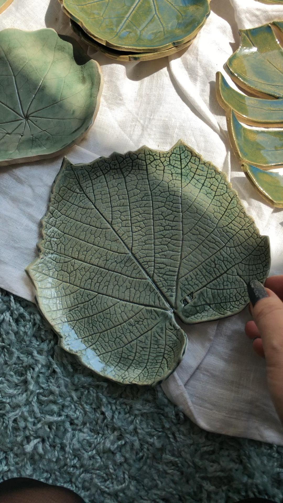 Green Ceramic Leaves