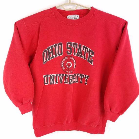 Vintage Ohio State Osu Buckeyes Usa Made Red Crewneck Sweatshirt