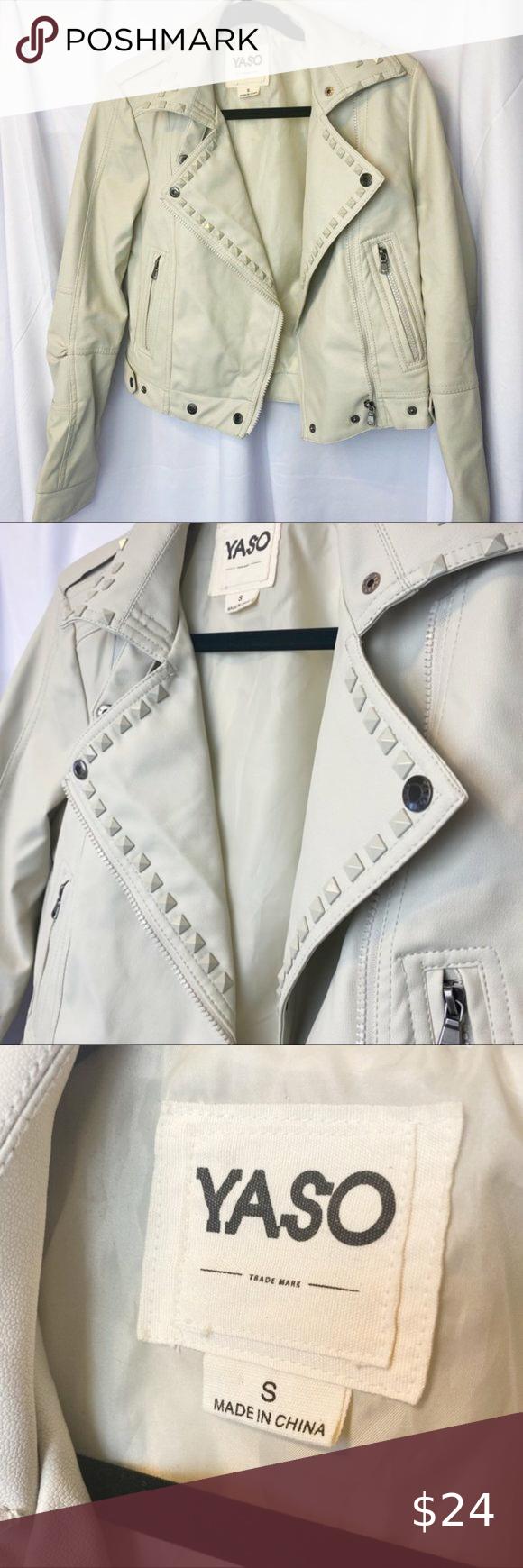 Yaso Faux Leather Cream/White/Tan Studded Jacket ♡ Yaso