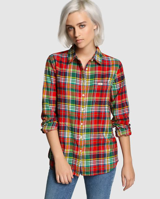Blusa cuadros botones manga larga rojo | Mode de Mujer