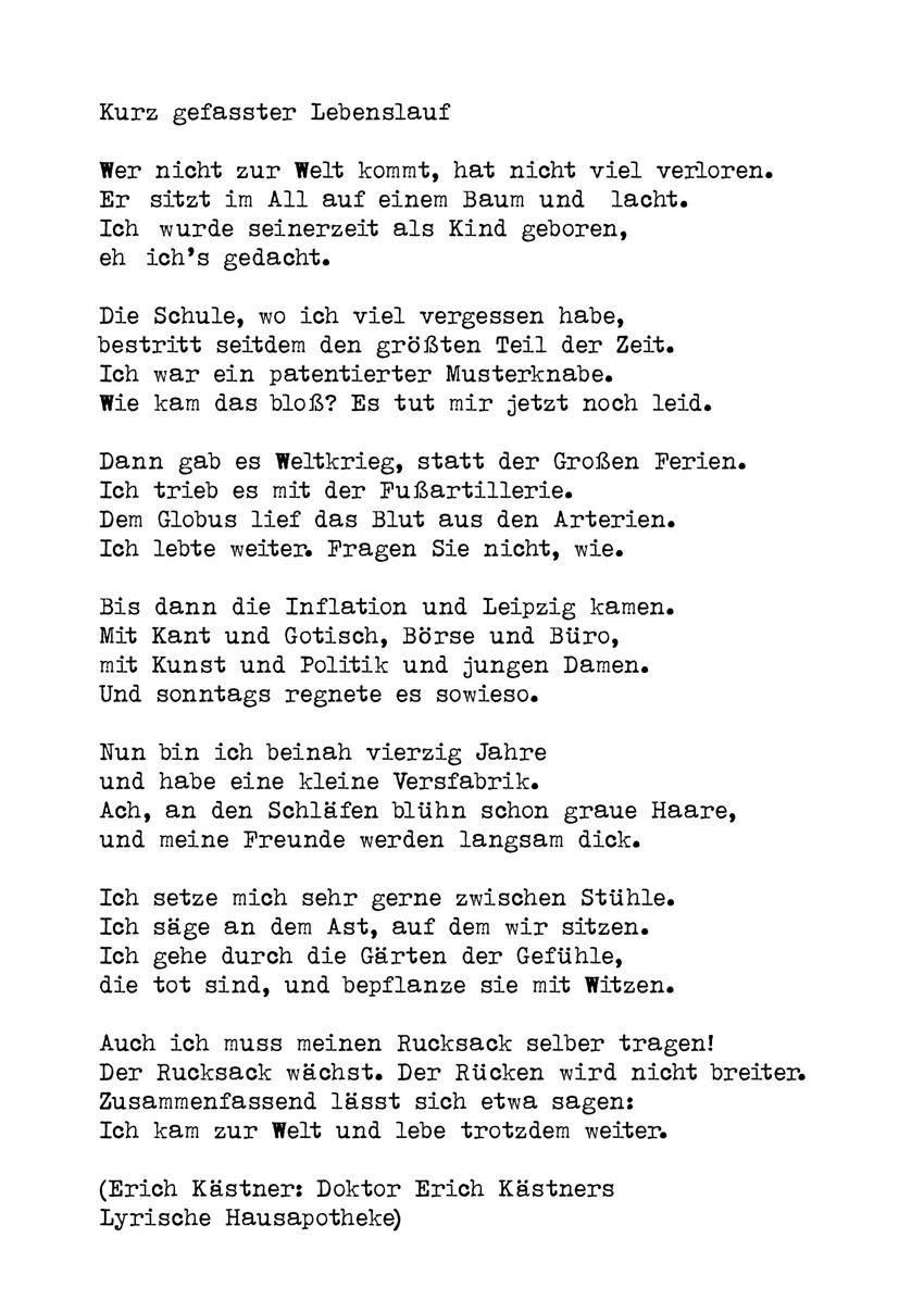 kurzgefasster lebenslauf erich kstner - Erich Kastner Lebenslauf