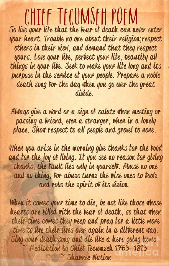 Chief Tecumseh Poem Live Your Life With Images Tecumseh Poem