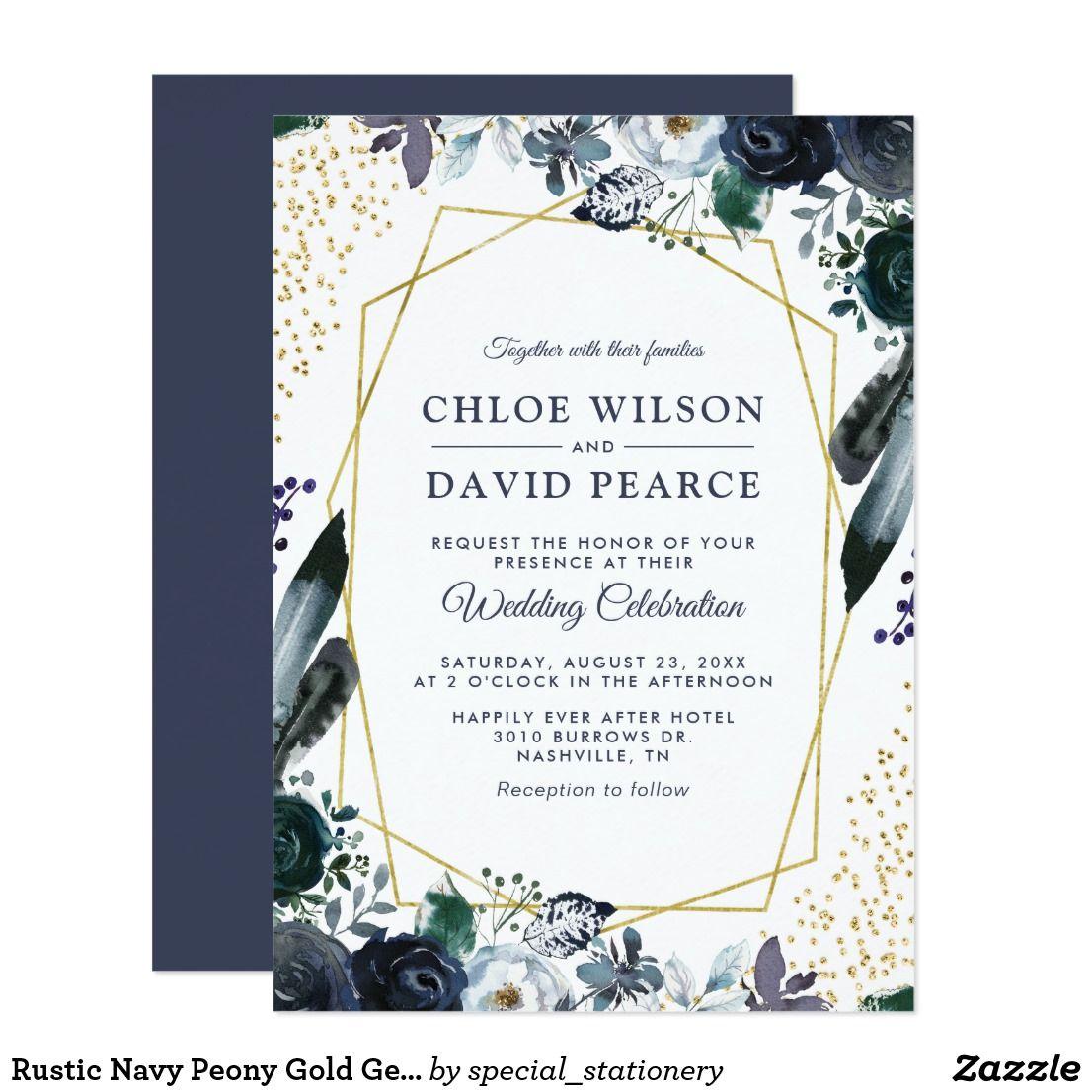 Zazzle Wedding Invitations.Rustic Navy Peony Gold Geometric Frame Wedding Invitation Zazzle