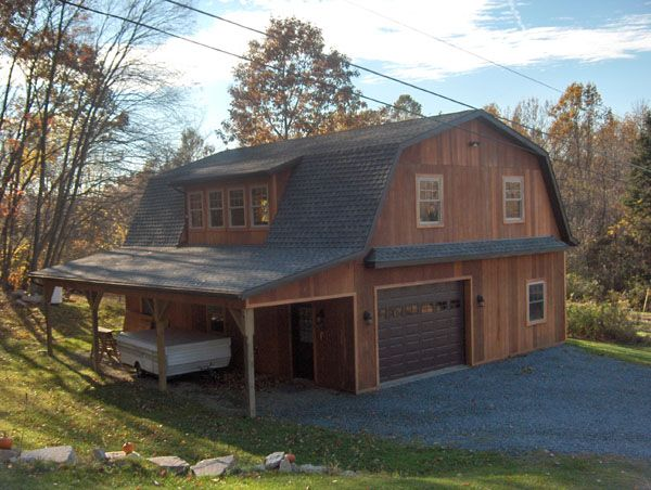 Two story gambrel frame hobby shop 30x40x10 with 10 40 2 storey house plans with attached garage