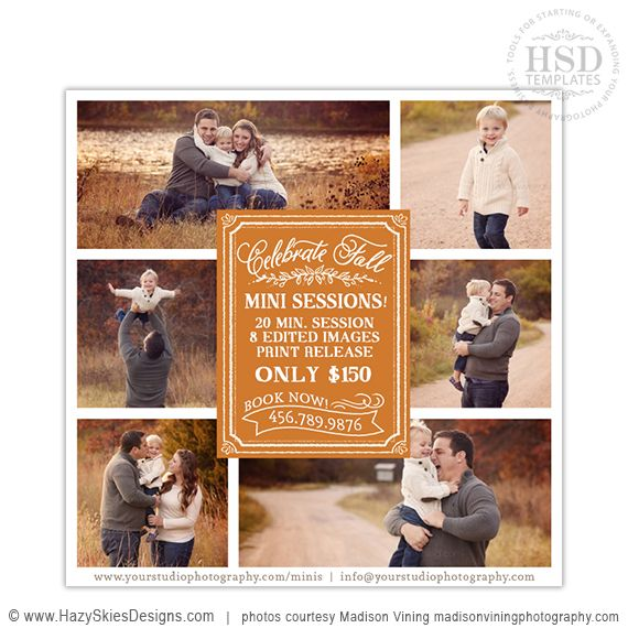 How To Advertise Your Wedding Photography Business: Fall Mini Session Template For Photographers #fall #autumn