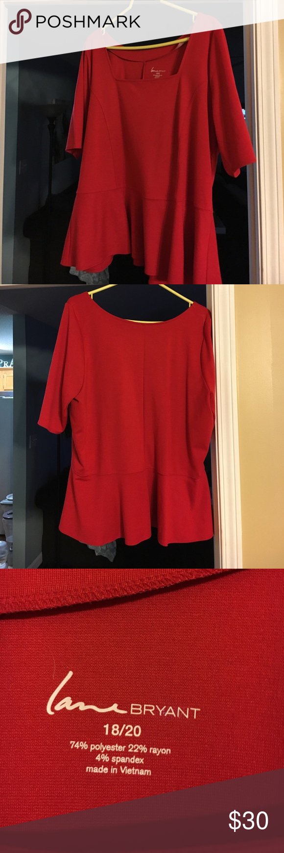 Red peplum style shirt Wore only once. Cute red peplum shirt. Short selves. Runs a little small( I usually wear 16). Its a 18/20 Lane Bryant Tops Blouses