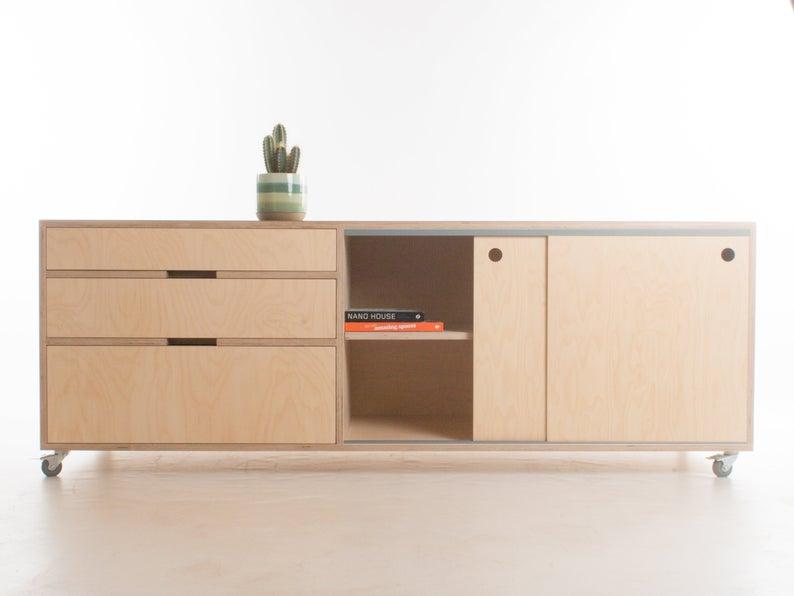 Wide Sideboard Media Console Cabinet Credenza Storage Ash Feet Plinth Wheels Birch Plywood Customise