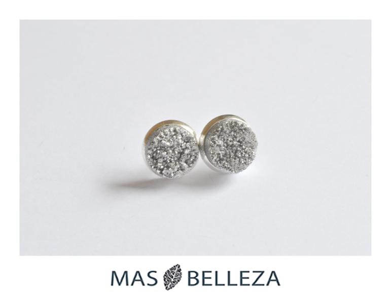 Silber Ohrstecker - Ohrstecker - Achat Druse in grau & silber - ein Designerstück von MasBelleza bei DaWanda