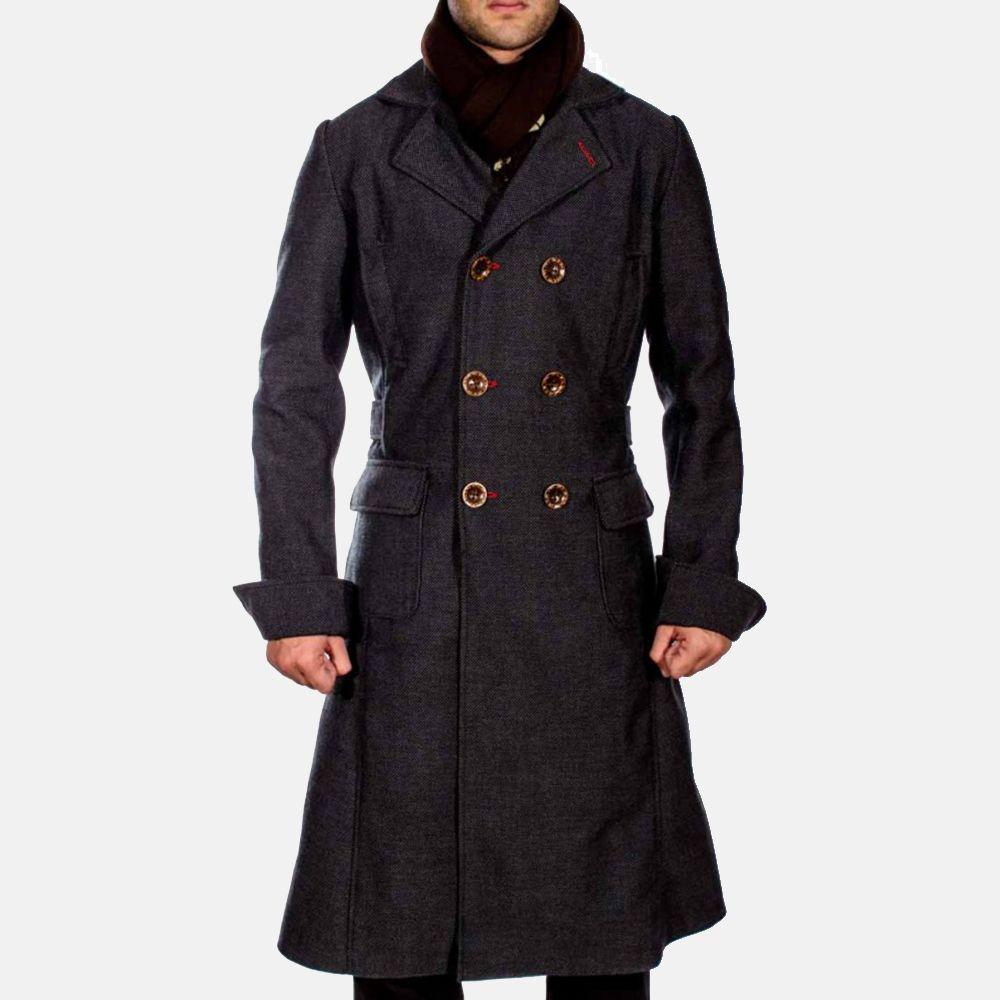 Stylish Legacy Sherlock Holmes Benedict Cumberbatch Black Wool Long Trench Coat