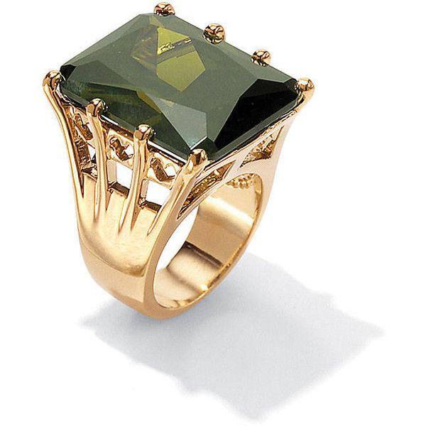 Palm Beach Jewelry 35 40 TCW Octagon Cut Olivine Cubic Zirconia
