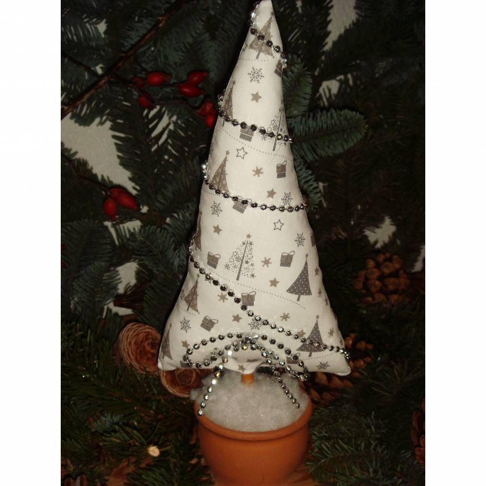 Genahter Tannenbaum Im Topf Weiss Grau Weihnachts Deko