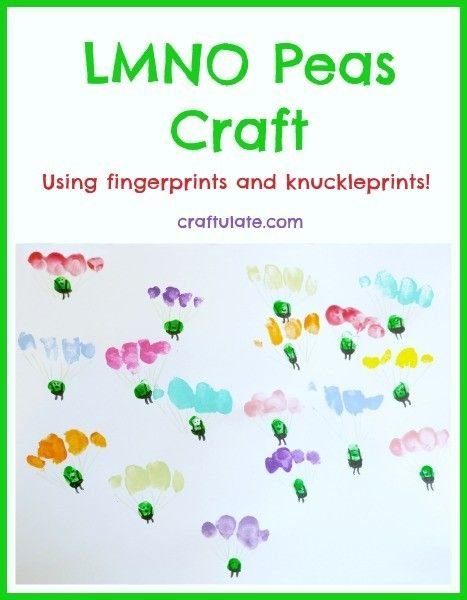 LMNO Peas Craft using fingerprints and knuckleprints! Perfect for kids who love this book!