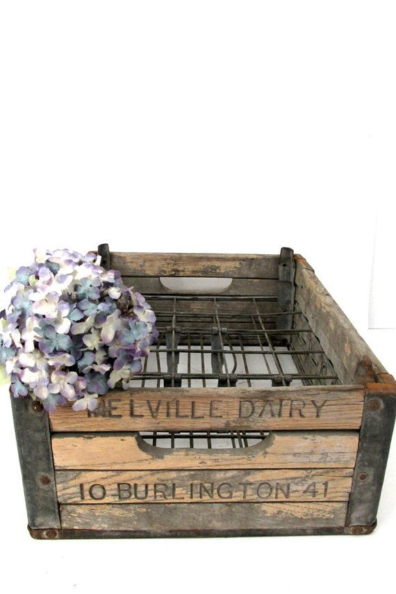 Vintage Wood Crate 1941 Melville Dairy By Creeklifetreasures Wood Crate Rustic Vintage Wood Crates Wood Crates Wooden Crate Boxes