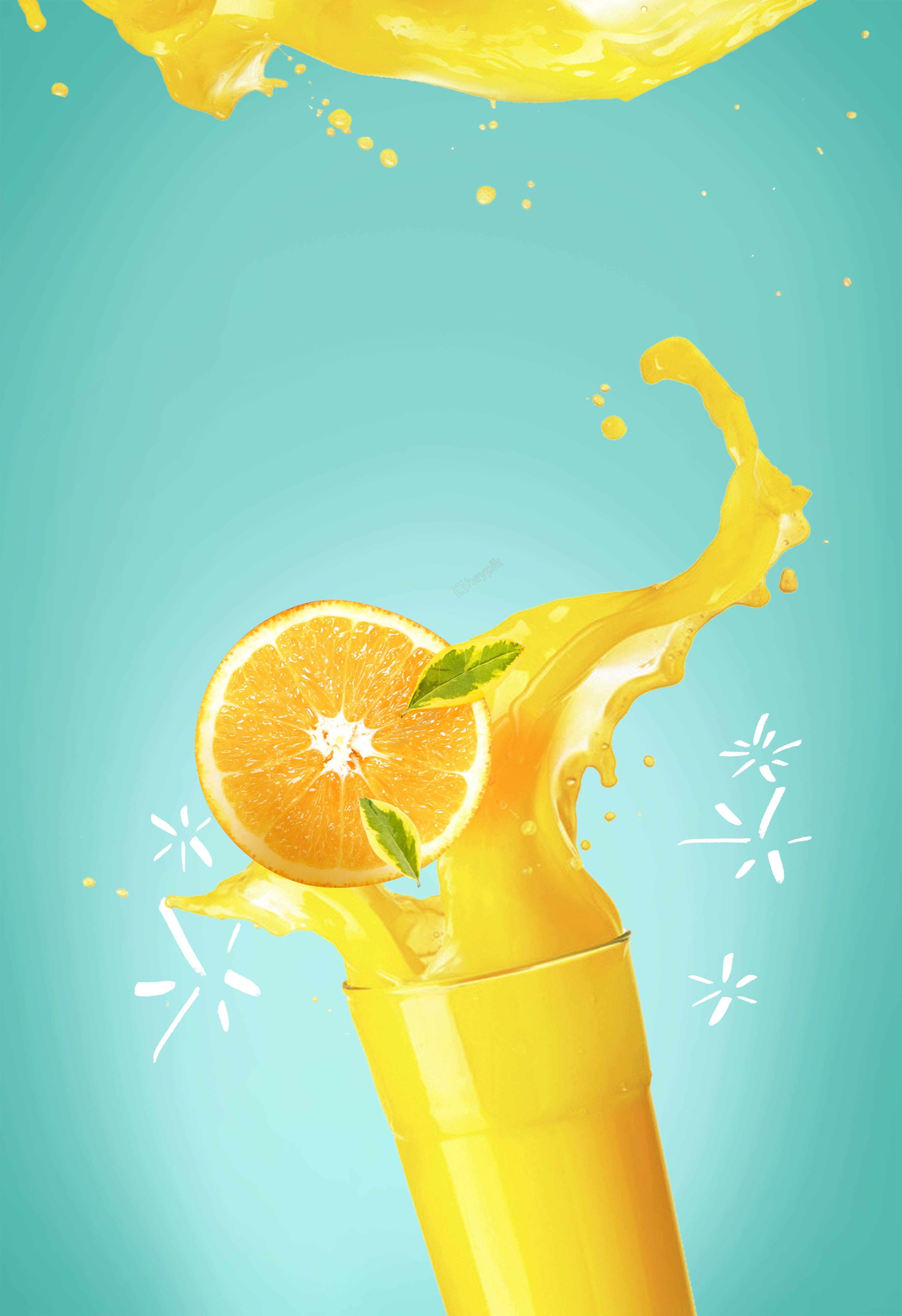 عصير البرتقال الطازج الأزرق خلفية منعشة الإعلان Refreshing Drinks Orange Juice Blue Juice