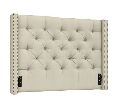 Uberlegen Harper Tufted Upholstered California King Low Headboard, Performance Tweed  Ecru