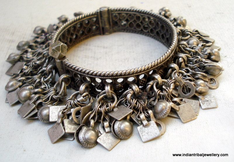 India | Vintage old silver charm bracelet from Rajasthan.  This type of bracelet would have been worn by the Banjara women.