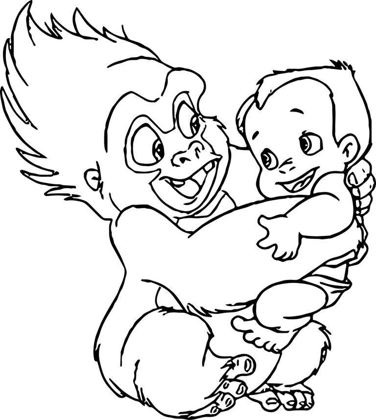 Terk Holding Baby Tarzan Coloring Pages Disney Coloring Pages Coloring Pages Baby Tarzan
