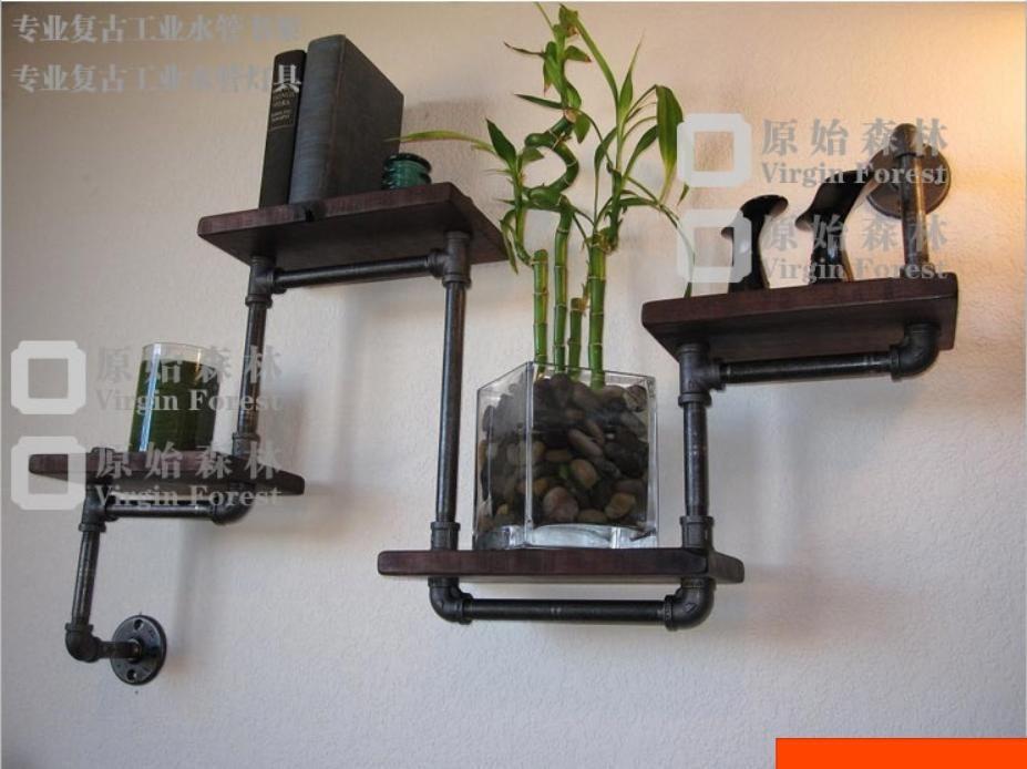 nordic industrie du meuble de fer tuyaux mur de planches fleur tag re tag re porte vitrine. Black Bedroom Furniture Sets. Home Design Ideas