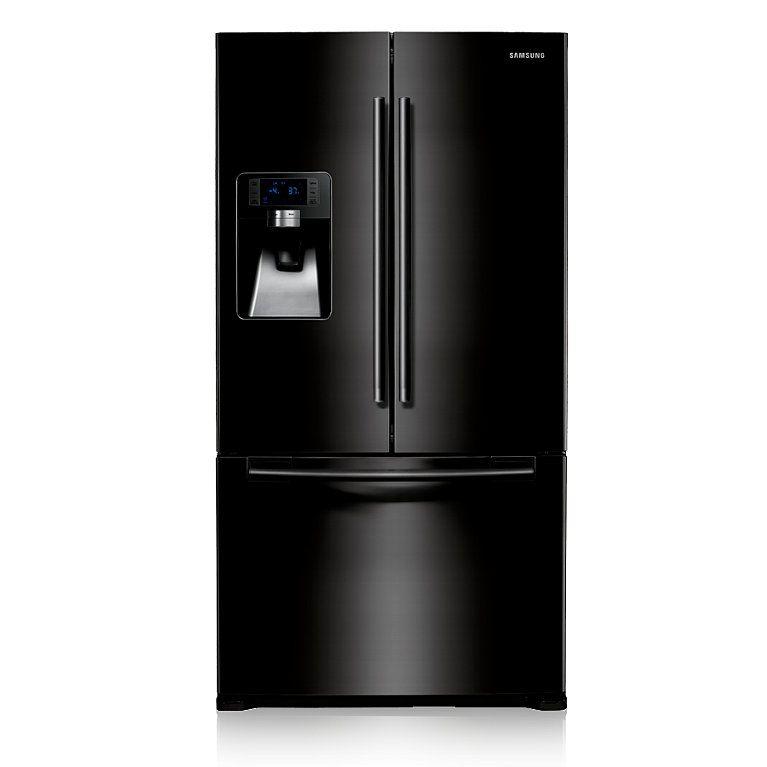 Rfg23uebp Three Door Fridge Freezer Front2 Black Fridge Freezers