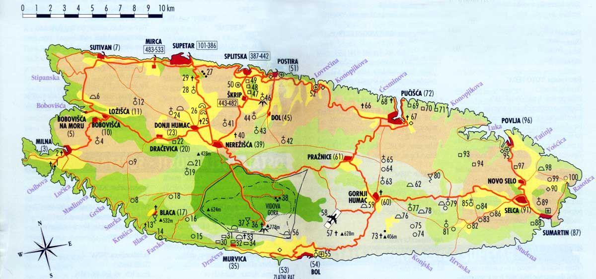Brac Island Croatia Map Brac Island, Croatia Map | European Travel | Croatia, Croatia map