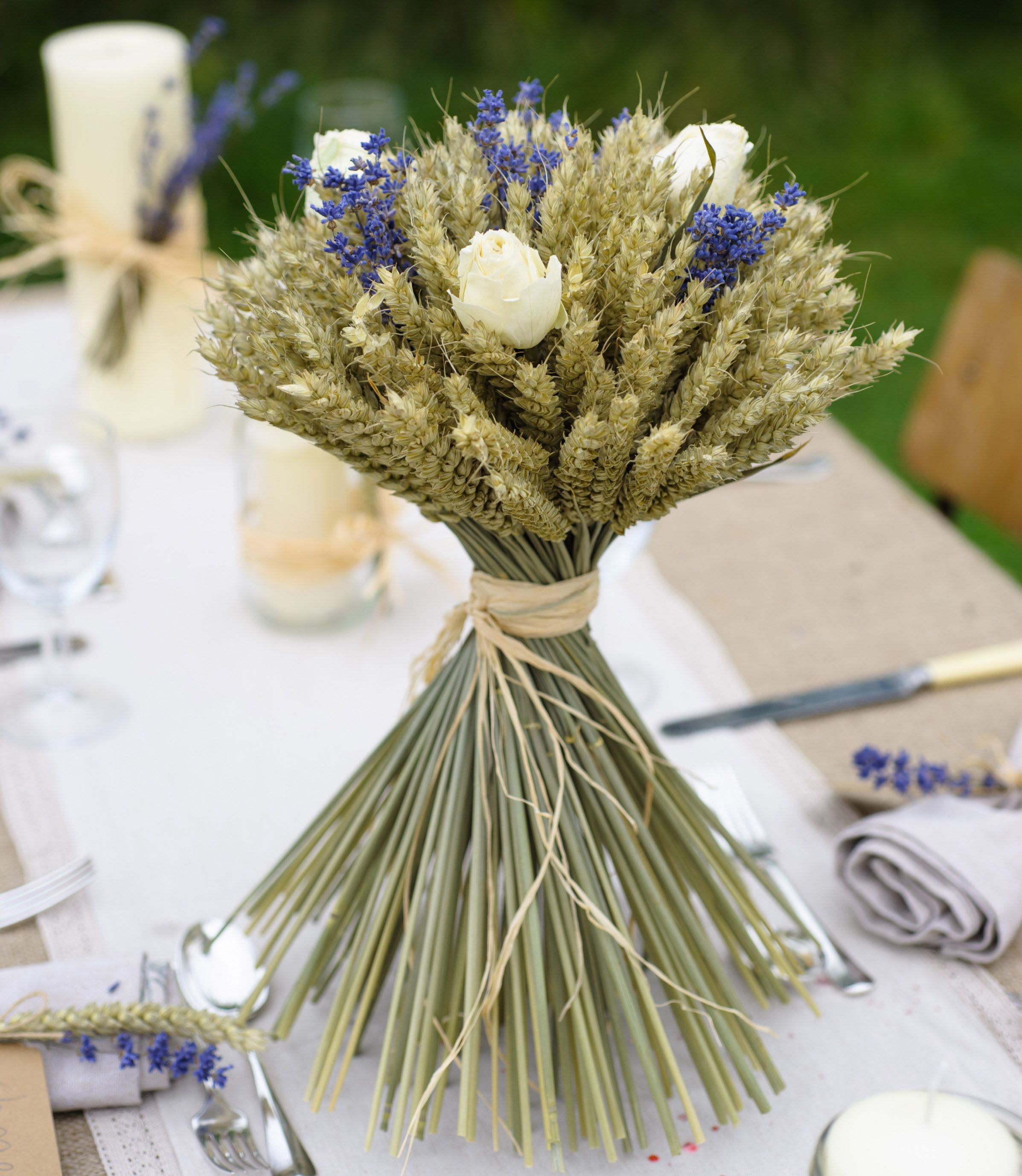 Weddings Lavender And Cream Rose Medium Wheat Sheaf Perfect As