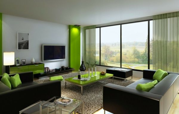 wohnzimmer modern : wohnzimmer modern grün ~ inspirierende bilder ... - Dekoration Wohnzimmer Grun
