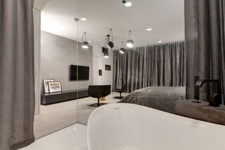 Wohnung Einrichten Grau Trennwand Glas Modern Schlafzimmer