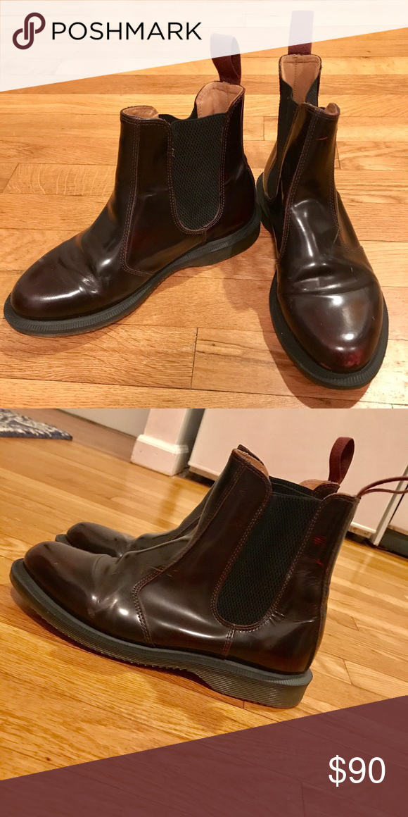 5db0151b8d86 Dr. Marten s Flora Arcadia Boots (Red) LIGHTLY USED Dr. Martens! Worn only  a handful of times. Light marking where the shoes were being broken in