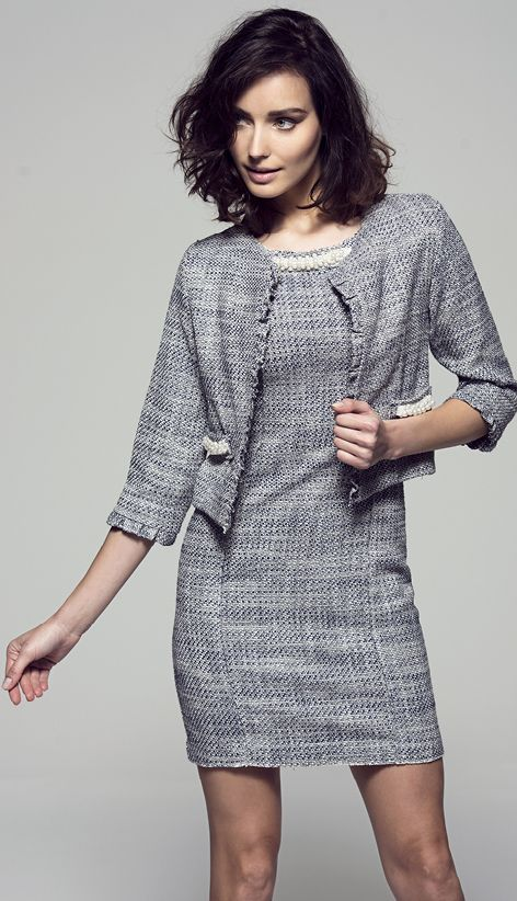 Grey #chic by #verysimple #chanel #dress and #Jacket