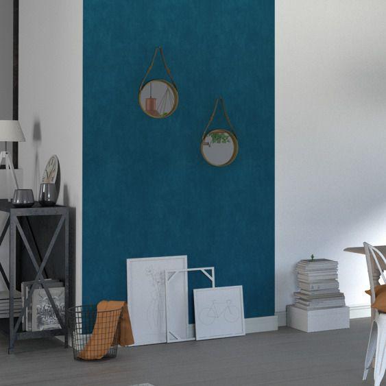 Papier peint intissé CLASSIC LINE coloris bleu pétrole