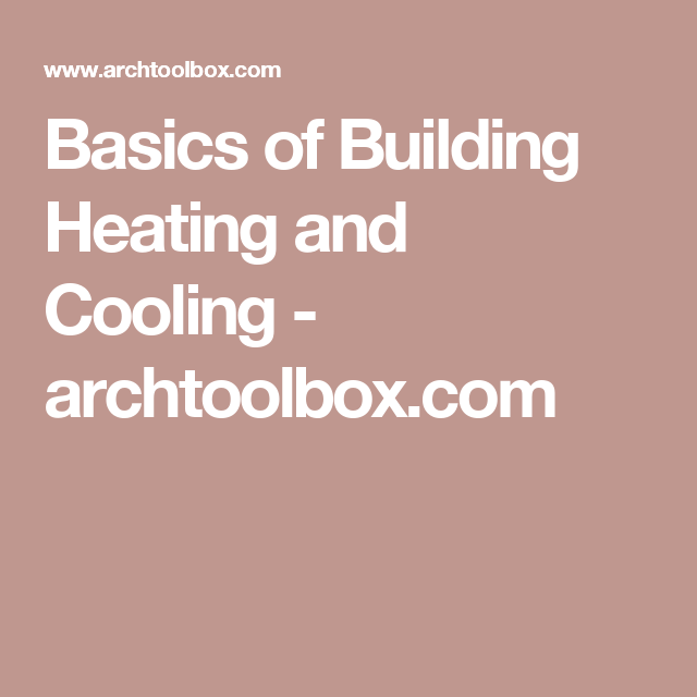 Basics Of Building Heating And Cooling Heating And Cooling