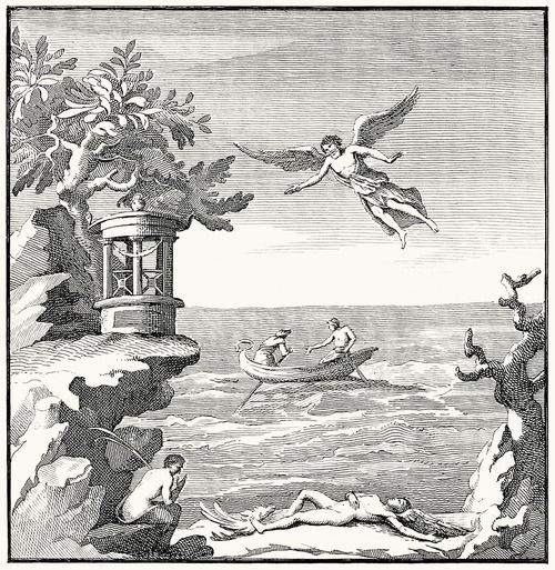 Daedalus and fallen Icarus.  Tommaso Piroli (engraver), from Antiquités d'Herculanum vol. 3, published by Francesco and Pietro Piranesi, Paris, 1804.