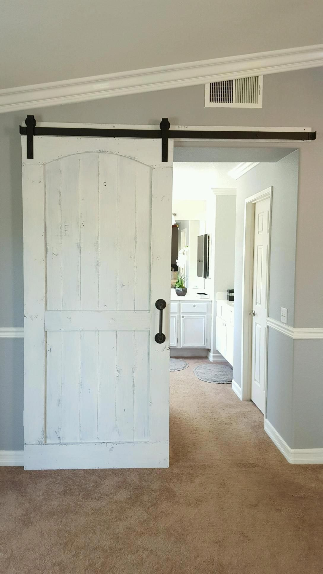 Distressed White Barn Door With