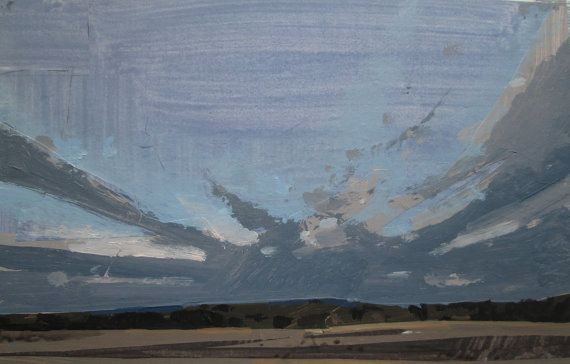 March Sweep Original Winter Sky Landscape Painting on by Paintbox