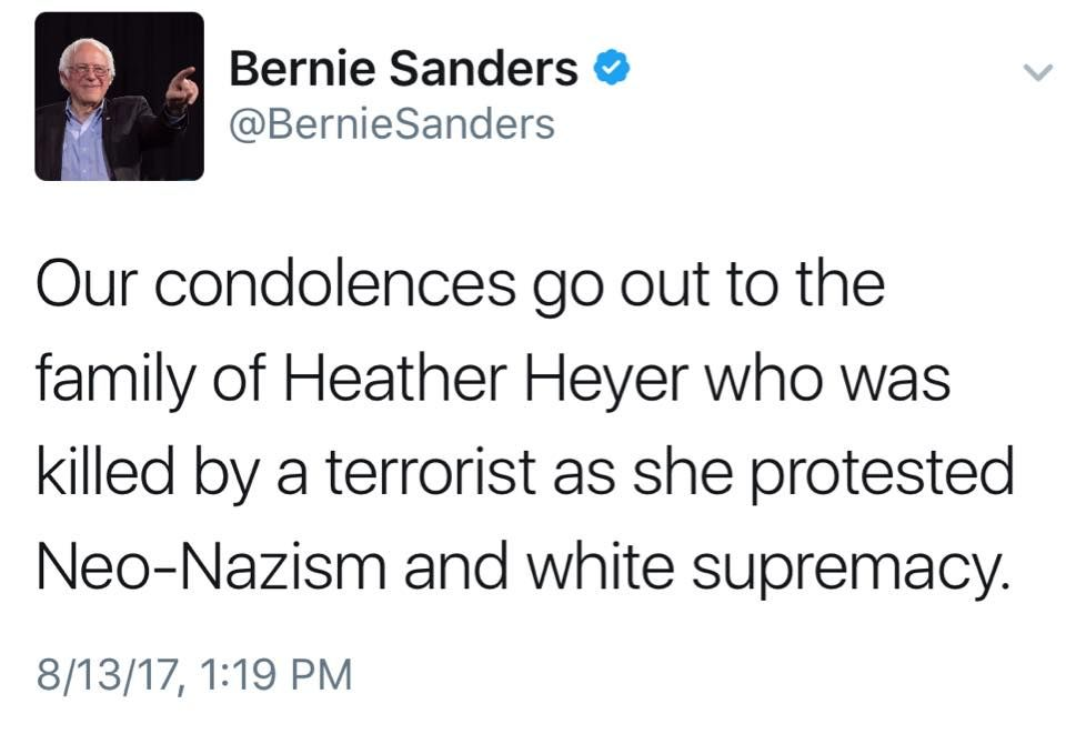 Progressive Quote Prepossessing Heather Heyer Supported Senator Sanders & Was Progressive To The End