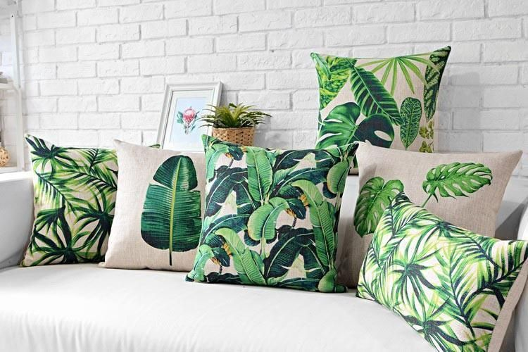 Tropical Banana Leaves Pillow Cover Tropical Home Decor Tropical Decor Green Leaf Pillow