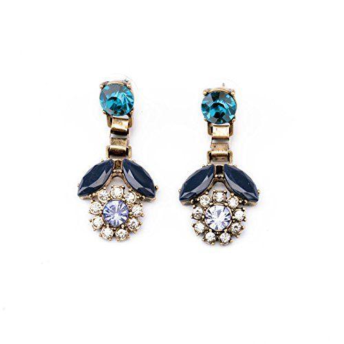 Termichy Fashion New Flower Shape Multi Crystals And Diamond Stud Earrings Dark Blue