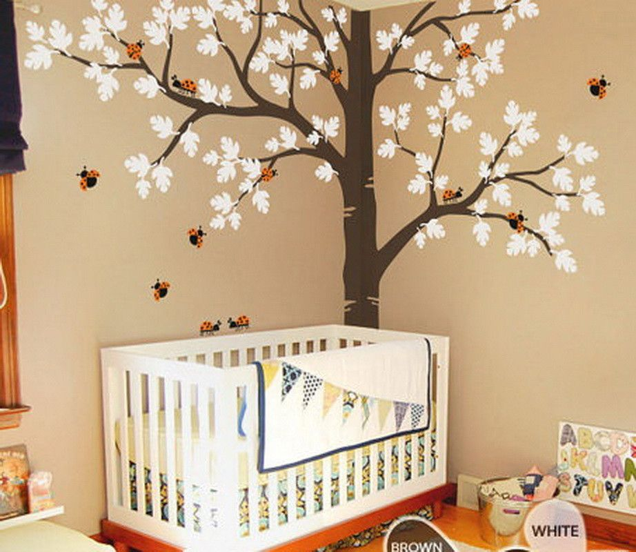 Corner oak tree ladybird wall decals nursery kids baby for Baby room wall decoration