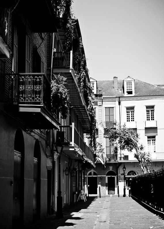 New orleans french quarter black and white photograph jackson square street scene architecture