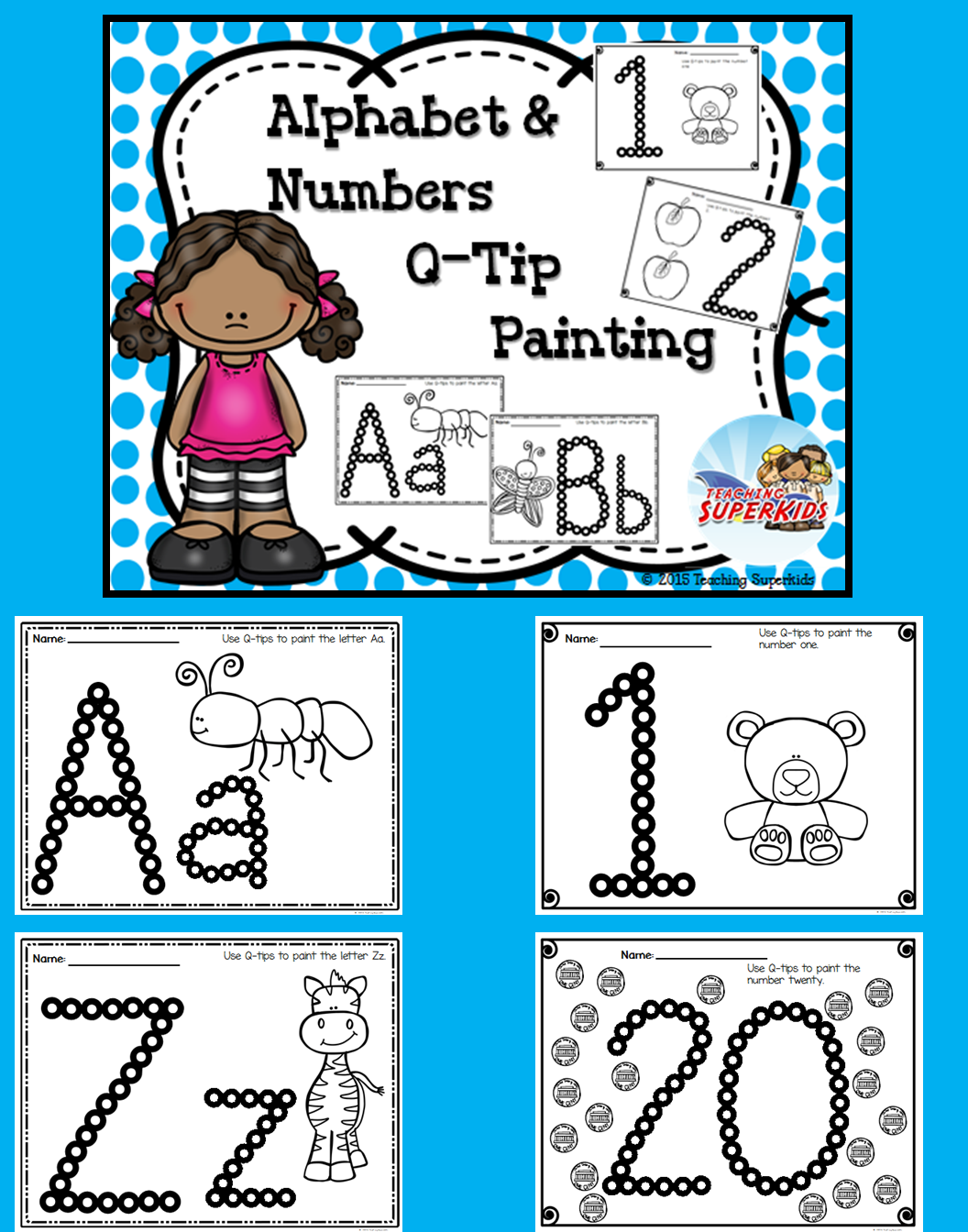 Alphabet and Number Worksheets Q-Tip Painting | Motor skills, Number ...