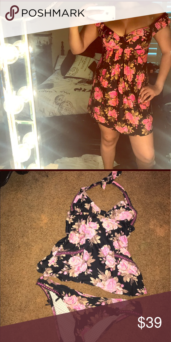 Betsey Johnson off the shoulder Swim Suit Cover Up adorable Betsey Johnson swim suit cover up i also have two Betsey Johnson swimsuits with the matching floral style listed on my page!! this cover up is padded, so no need for a bra!! this cover up was worn once. GREAT CONDITION, looks brand new. Betsey Johnson Swim Coverups