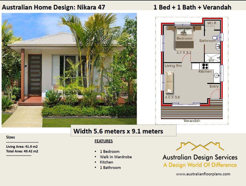 Small House Plan 49 Nikara 529 Sq Foot 49 2 M2 1 Bedroom Etsy Free House Plans House Plans For Sale House Design