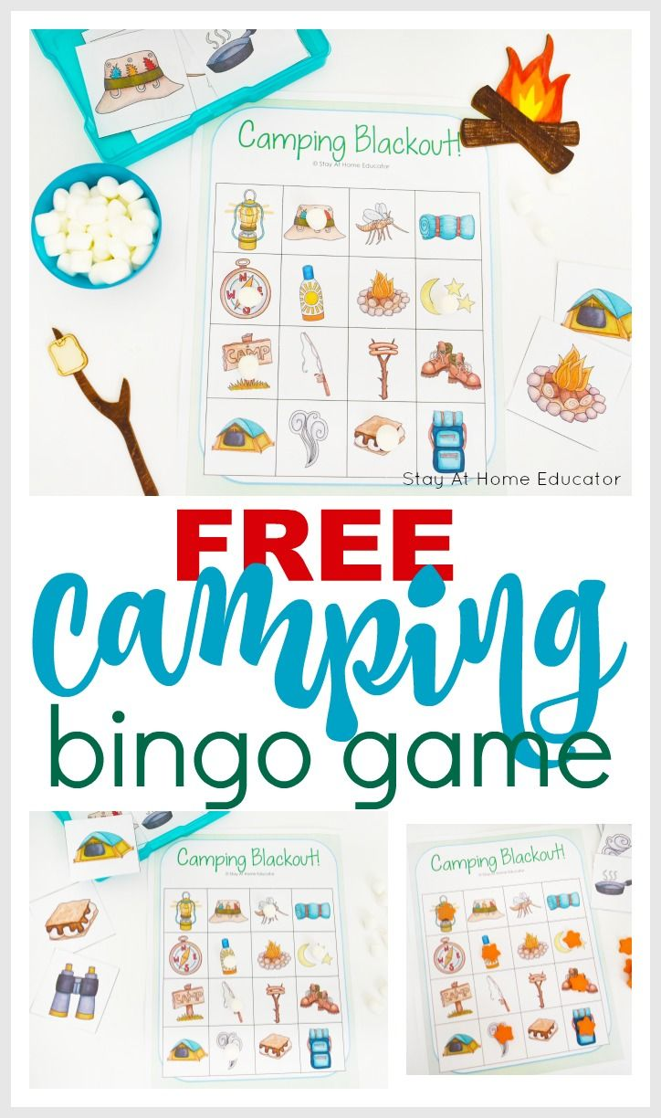 A fun camping game for preschoolers to practice vocabulary and oral development. Kids will think they are just playing but really they are learning! Use this free printable for preschoolers in any of your summer preschool themes. Good for a forest theme, too, or camping theme. Games for kids | printable games